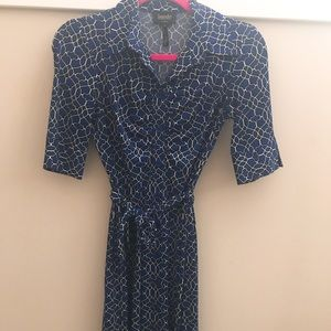JERSEY WRAP DRESS ART DECO PRINT BLUE